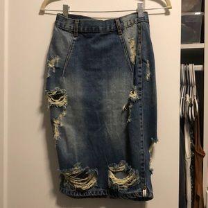 One teaspoon jean pencil skirt.